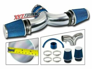 Blue 99 04 Grand Cherokee 4 7 V8 Dual Twin Air Intake Induction Kit Filter 3 5