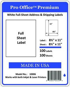 100 Full Sheet Shipping Labels Pro Office Premium 8 5 X 11 Self Adhesive Blank