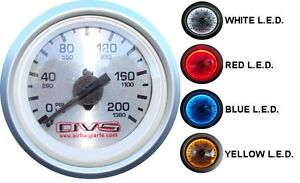 Avs Single Needle Gauge Silver Face 200 Psi With White Color Led Air Ride