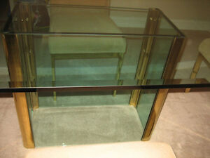 Mid Century Modern Pace Collection Dining Glass And Brass Table