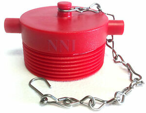 2 1 2 Nst Male Fire Hose Hydrant Adapter Plug With Chain Red Poly Plastic