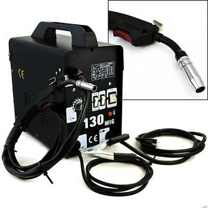 Mig 130 Flux Core Wire Welder Welding Machine W Cooling Fan Face Mask 115v