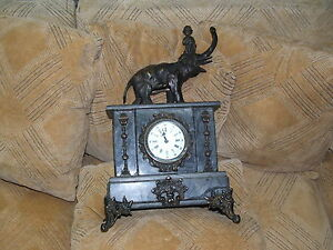 Antique Collectible Marble Clock W Bronze Trumpet Player Riding The Elephant