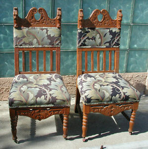 Set Of 2 Antique French Hand Carved Chairs