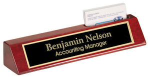 Personalized Rosewood Name Plate Bar W Business Card Holder Office Desk