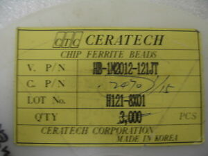 Lot Of 2300 Ceratech Ferrite Chip Beads Hb 1m2012121jt