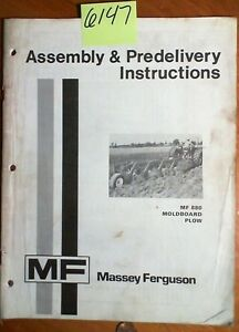 Massey Ferguson Mf880 Mf 880 Moldboard Plow Assembly Predelivery Instruct Manual