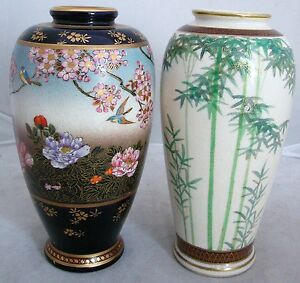 2 Signed Antique Meiji Japanese Satsuma Vases W Birds Flowers