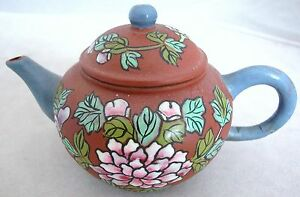 Old Chinese Yixing Clay Teapot W Blue Enameled Spout Handle Flowers 5 3