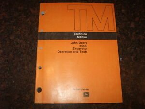 John Deere 290d Excavator Technical Service Operations Test Manual