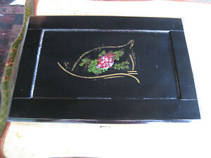 Antique Early 20th Century Black Painted Box Lap Desk W Floral Decoration