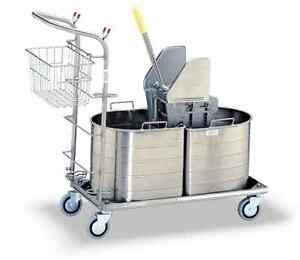 Royce Rolls 1c 215 h Stainless Steel Dbl Tank Unit W Wringer On Platform Cart