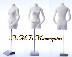 Female Mannequin Torso W Pinnable Body Arms Hands White Body Dress Form rb