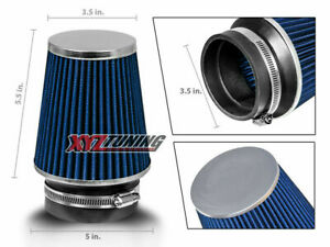 3 5 Inches 3 5 89 Mm Cold Air Intake Cone Narrow Air Filter Blue Chevy