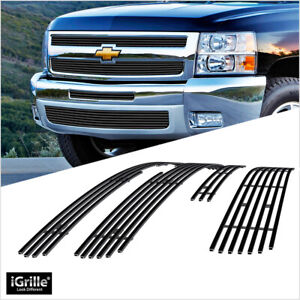 Fits 2007 2012 Chevy Silverado 1500 Black Billet Grille Combo Insert