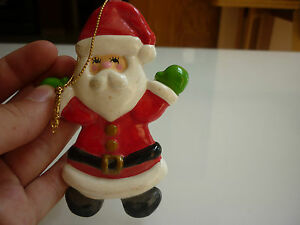 Vintage Christmas Tree Ornament Santa Clause Hand Painted 214