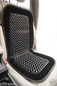 Natural Wood Bead Seat Cover Seat Cushion Massage Car Office Black