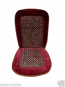 Natural Wood Bead Seat Cover Seat Cushion Cool Massage Car Office Red
