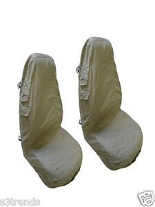 2pc Front Seat Cover Set Khaki Tan Cloth Cargo W Pockets Washable Car Jeep
