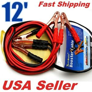 200 Amp 12 Ft Booster Jumper Cable Car Battery Jump Start 10 Gauge Wire R002