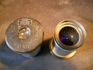 One Pair 2 Carl Zeiss C 10x Microscope Objective Eyepiece