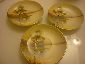 Vintage 3 Beautiful Saucers Hand Painted Scenic Birch Tree Japan 215 31