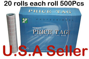 100000 Pcs 20 Roll Retail Store Price Gun Labeler Tag Price Sticker Label White