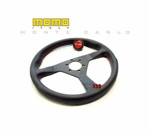 Momo Monte Carlo 320mm Black Steering Wheel With Red Stitching Eg Ek Dc Rsx