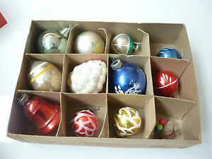 Vintage Christmas Tree Ornaments 11 Glass Balls And Shapes Bear 1123