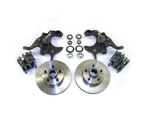 1964 1972 Gm A Body 11 Disc Brake 2 Drop Spindle Kit W Stainless Hose Chevy