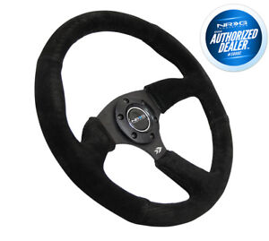 Nrg 350mm Racing Steering Wheel Black Spoke Center Black Suded Rst 023mb s