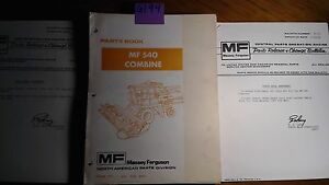 Massey Ferguson Mf 540 Combine Parts Book Manual 651 418 M93 1 81 6 81 10 81