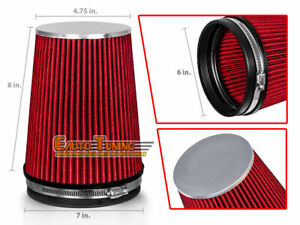 Red 6 Inches 6 Inlet 152 4mm Cold Air Intake Cone Truck Filter Gmc