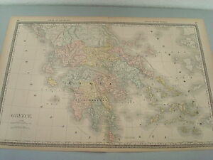 Rare 1888 Antique Map Of Greece