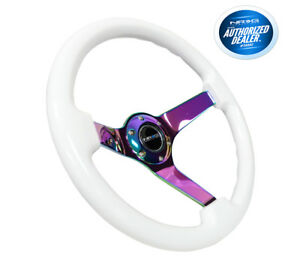 Nrg Classic White Wood Grain Steering Wheel 3 Deep Neochrome Spoke Rst 036mc Wt