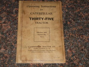 Cat Caterpillar Operating Instructions Manual For Thirty five Tractor 1932