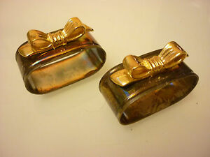 Vintage Set Of 2 Napkin Rings Brass Silver Plate Bow