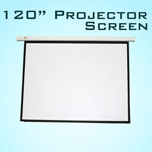 New 120 Pulldown Manual Pull Down Projector Projection Screen Matt 4 3 White