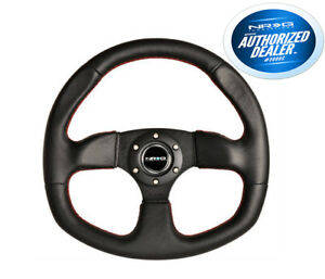 Nrg Steering Wheel 320mm Flat Bottom Black Leather Red Stitching Rst 009r rs