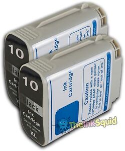 2 Black Hp 10 Xl Chipped Compatible Ink Cartridges For Photosmart Printer C4844a