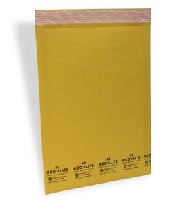 200 2 8 5x12 Kraft Bubble Mailers Padded Envelopes Ecolite From Theboxery