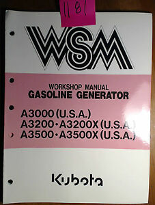 Kubota A3000 A3200 A3200x A3500 A3500x Gasoline Generator Workshop Manual 9 90