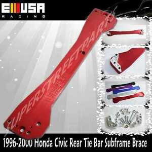 Emusa 1996 2000 Honda Civic Rear Tie Bar Subframe Brace Ek Lx Dx Ex Si Red