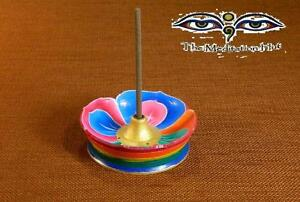 Hand Painted Large Colorful Wooden Buddha Lotus Incense Holder Burner Nepal
