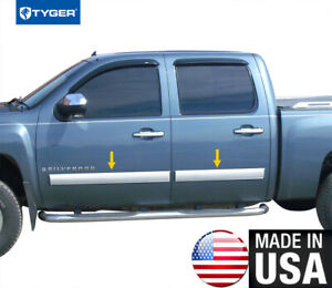 Tyger For 07 08 Chevy Silverado Crew Cab Body Side Molding Trim Full 4 25 4pc