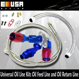 Turbo Oil Return Feed Line T3 Complete Kit For Honda Civic Accord Nissan Delsol