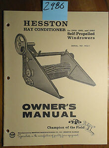 Hesston Hay Conditioner 1960 1961 1962 Self propelled Windrower Owner Manual 60