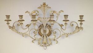 Vintage Italian Italy Creamy Gold Tole Candle Holder Wall Hanging 39 Long