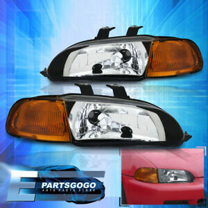 For 92 95 Honda Civic Eg 1pc Chrome Housing Headlights 2 3dr Amber Corner Lamps