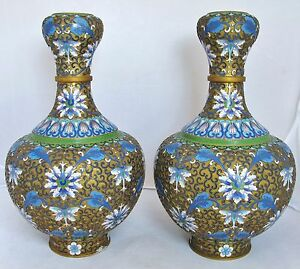10 1 Pair Of Vintage Chinese Champleve Cloisonne Vase W Famille Rose Flowers